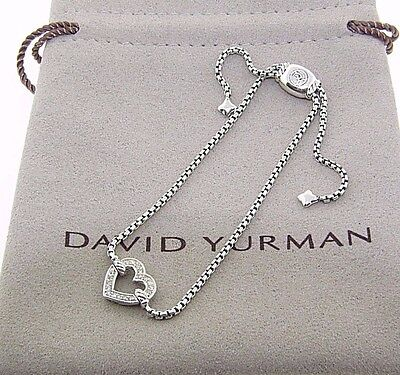 David Yurman Cable Collectables Heart Station Bracelet With Diamonds