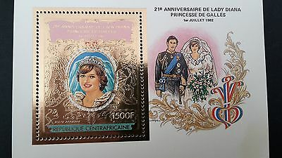 TIMBRE OR  DIANA  21 eme ANNIVERSAIRE