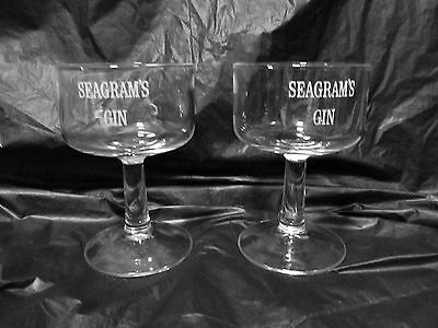 Vintage Seagram's Gin pair bar glasses logo footed stemmed drink LQQK!