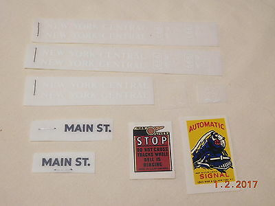 Marx N. Y. Central Train Engine Crossing Adhesive & Dry Transfer Decals