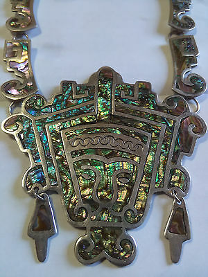 VINTAGE 1940 RARE AZTEC  IGUALA MEXICAN (925) SS NECKLACE w/INLAID ABALONE SHELL