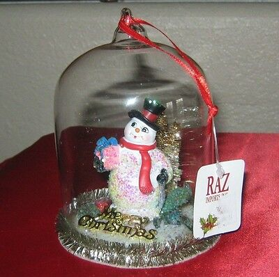 Raz Snowmen Under Gass Dome Christmas Ornament New With Tag