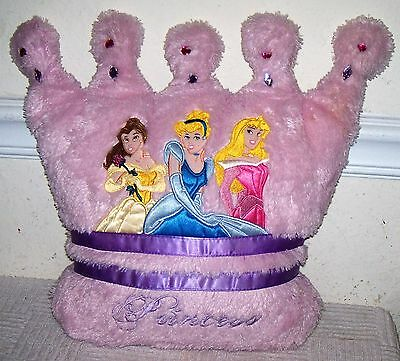 "Disney PRINCESS 13"" Plush Pink & Purple CROWN PILLOW w/ Jewels"