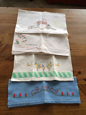 Vintage Embroidered Hand Towels/guest Towels.7 Of Them.