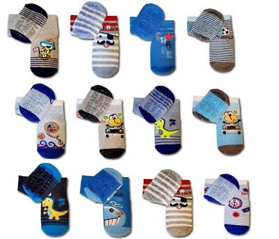 Baby Toddler Boy Anti Non Slip Cotton Silicone Sole Socks  Size 6-24 Months