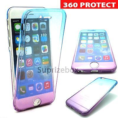 For New Apple iPhone 7 360 Shockproof Crystal Clear Gel Case Cover BLUE/PURPLE