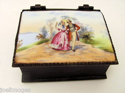 Antique Hand Painted French Bronze Portrait Box Early 1900s