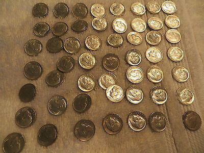 Roosevelt Dime Lot Of 64 - 90% Silver Circulated Us Coins Silver 1963-1964