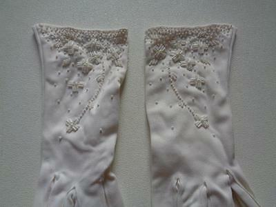Vintage Double Woven Nylon Tailored Ivory Cream Gloves Hand Beaded Approx Sz 6