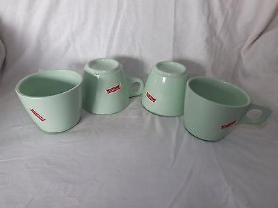 Four Vintage Boonton Ware Mint Green Coffee Cups Great Condition
