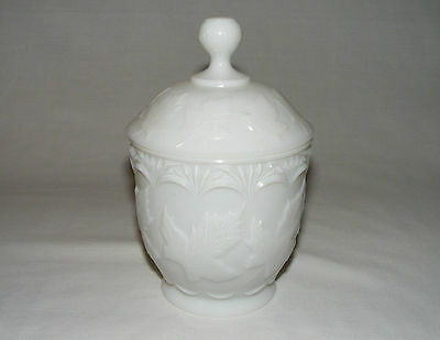 Antique Early Canadian Pressed Glass Maple Leaf Sugar Bowl & Lid Rare White