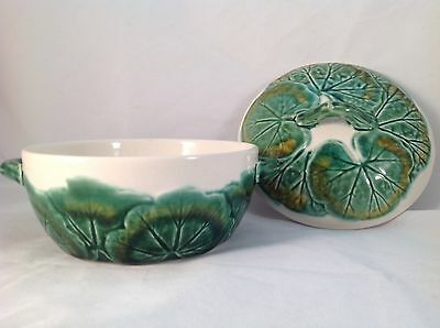 VINTAGE Portugal Pottery GREEN MAJOLICA Lily Pad LEAF PATTERN Lidded CANDY DISH