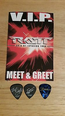 Rare RATT 2016 Re-Invasion Tour Guitar Pick Set & Pass