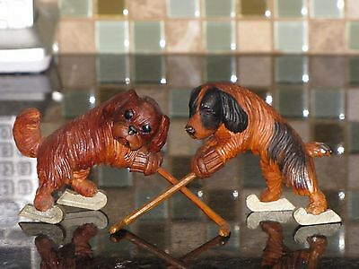 ANRI? Lot of 2 Antique Vintage Hand Carved Wood Wooden Dogs Ice hockey players