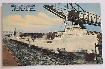 Linen postcard ICE COATED FREIGHTER AFTER STORMY VOYAGE, DULUTH SUPERIOR HARBOR