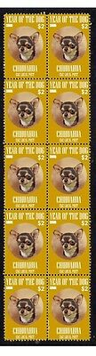 CHIHUAHUA STRIP OF 10 MINT CKC YoD DOG STAMPS 1
