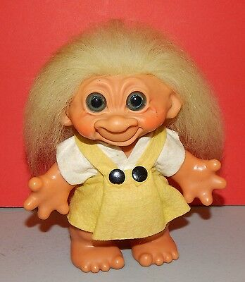 """1960s Dam Troll Doll 7"""" Girl Bank Original Felt outfit and hair and eyes   W2491"""