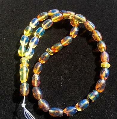 Beautiful Islamic Prayer Dominican  Blue Amber 33 Beads Misbaha   7 In