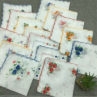 1pc Vintage Style Floral Flowers Handkerchief Lady Women Cotton Hanky 30CM*30CM