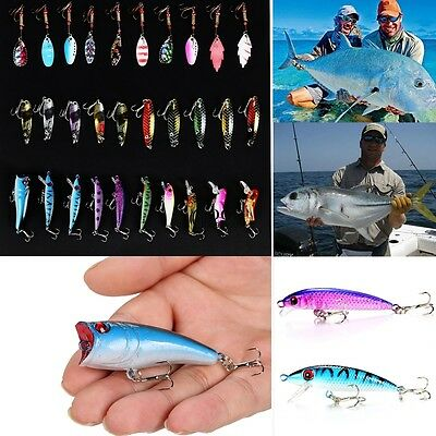NEW Lot 30pcs Kinds of Fishing Lures Crankbaits Spinner Hooks Baits Tackle TXGT