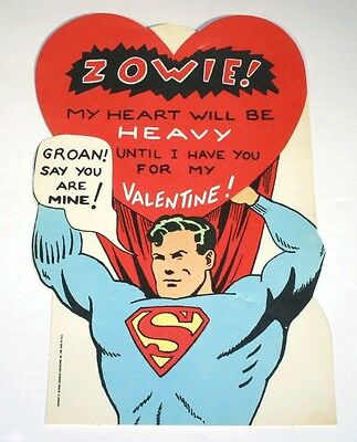 "Vtg 1966 Superman Valentine Day Die Cut Card Unused Zowie! 8"" X 5"""
