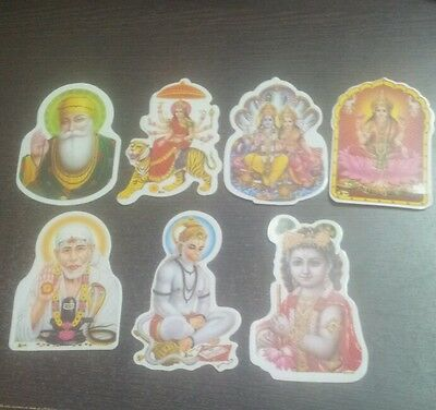 7 Indian Hindu God Small Stickers Home Temple Prayers Worship Meditation Gift