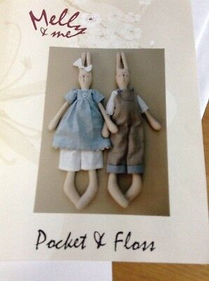 "Cloth Doll Pattern ""Pocket And Floss"" Bunny Dolls 26"""