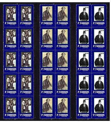 Pt Barnum Circus Icon Set Of 3 Mint Stamp Strips 2