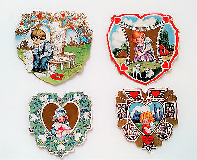 Lot of 4 Vintage Heart Shaped Valentine Day Cards 1920's