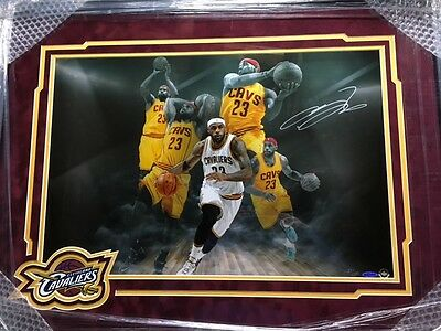 "LEBRON JAMES Autographed Framed Matted ""Imaginative"" 24x16 Photo Collage UDA /50"
