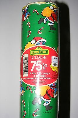 Vintage '88 Sesame Street Christmas Wrapping Paper Grover Muppets 75SQ. FT.