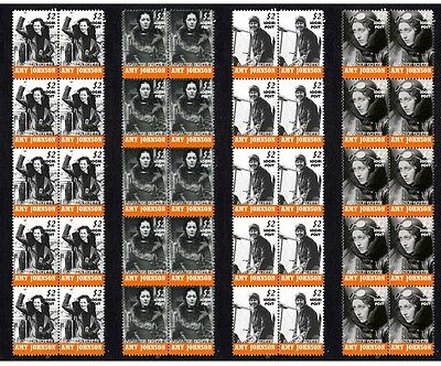 Amy Johnson Aviation Pioneer Set Of 4 Mint Stamp Strips