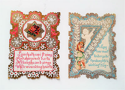 Lot of 2 Vintage Valentines Day Cards