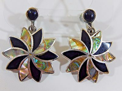 Vtg Taxco Signed Mo Campo  Sterling Silver Onyx Abalone Dangle Flower Earrings