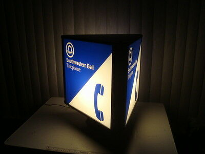 3 Sided Big Southwestern Bell Telephone Booth Lighted Sign Display Advertising