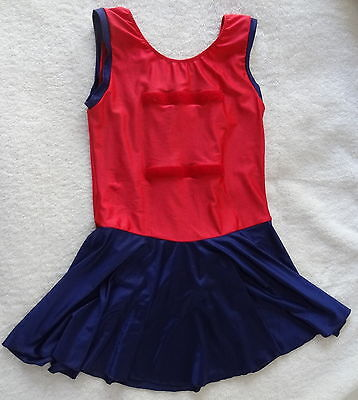 Large Red and Navy blue netball bodysuit