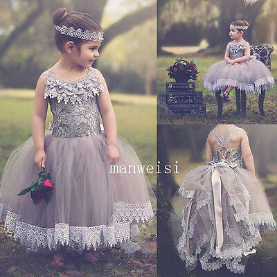 New Wedding Party Formal Flower Girl Dresses Baby Lace Tulle Pageant Gown Custom