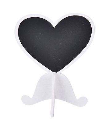 10 X white Wooden heart Chalk Board Stands For Wedding Table Numbers / Names