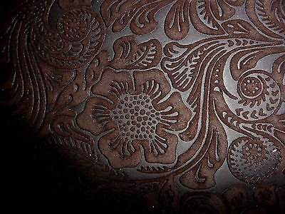 """Suede Leather 12""""x12"""" Etched Rich Brown Daisy Floral Cow hide piece scrap craft"""