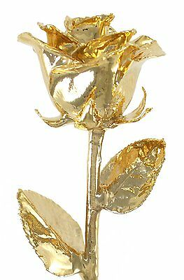 """Real Rose Dipped in 24k Gold - Venus Rose 12"""" Open Bud by Living Gold"""