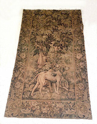 Decorative Old French Machine Loomed Tapestry - Hunting Dogs c1900
