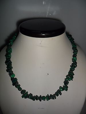 Collana malachite naturale scaglie anni 50 Natural Malachite chips necklace