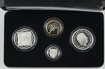 2008 UK SILVER PROOF 4 COIN PIEDFORT COLLECTION - boxed/coa/outer