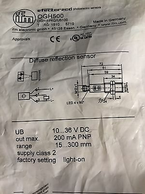 Ifm Electronic Ogh500 Diffuse Reflection Sensor