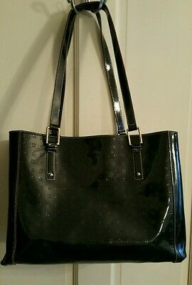 Arcadia black patent leather XL tote shoulder bag with red accents