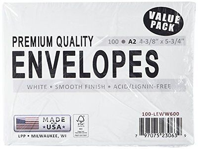 """Enveloppes A2 100 Pkg-White, 4,375 """"X5.75"""" Notions - In Network A2100"""
