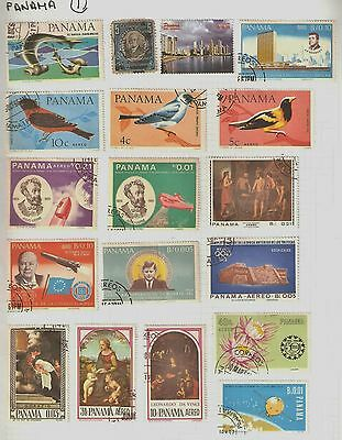 Collection of 27 Panama Postage Stamps on Album Sheets
