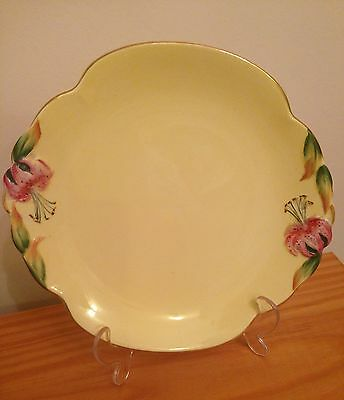 Royal Winton China Tiger Lily Large Cake Plate Vintage Art Deco