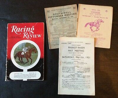 3 EARLY 1950's RACE CARDS PLUS RACING REVIEW 1952