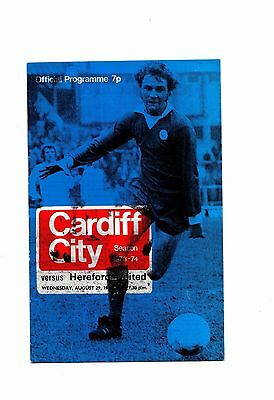1973-1974 Cardiff City v Hereford United FL Cup